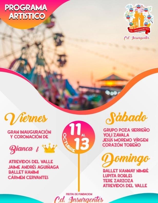 Este viernes gran inauguración de las fiestas del 64 Aniversario de Fundación de Ciudad Insurgentes3.jpg